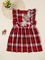 cheap -Kids Girls' Plaid Dress Wine