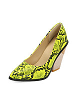 cheap -Women's Heels Chunky Heel Pointed Toe PU Spring &  Fall Black / Light Brown / Dark Green