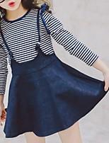 cheap -Kids Girls' Basic Striped Long Sleeve Clothing Set Blue