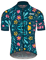 cheap -21Grams Men's Women's Short Sleeve Cycling Jersey 100% Polyester Dark Blue Floral Botanical Bike Jersey Top Mountain Bike MTB Road Bike Cycling Quick Dry Sports Clothing Apparel / Race Fit