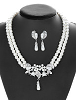 cheap -Women's Pearl Bridal Jewelry Sets Pearl Necklace Transparent Flower Vintage Elegant Pearl Earrings Jewelry White For Wedding Party 1 set