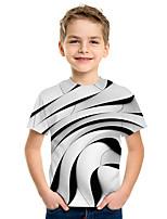 abordables -Enfants Garçon Actif Chic de Rue 3D Imprimé Manches Courtes Tee-shirts Blanche
