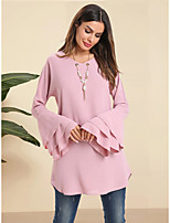 cheap -Women's Daily Work Basic / Elegant Blouse - Solid Colored Patchwork Blushing Pink