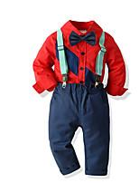 cheap -Kids Toddler Boys' Basic Birthday Party Party & Evening Geometric Print Long Sleeve Regular Regular Clothing Set Red