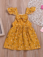 cheap -Kids Girls' Floral Dress Yellow