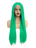 cheap -Synthetic Lace Front Wig Straight Gaga Middle Part Lace Front Wig Long Green Synthetic Hair 22-26 inch Women's Heat Resistant Women Hot Sale Green / Glueless