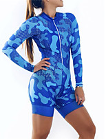 cheap -21Grams Women's Long Sleeve Triathlon Tri Suit Blue Camo / Camouflage Bike Clothing Suit Thermal / Warm UV Resistant Breathable Quick Dry Sweat-wicking Sports Camo / Camouflage Mountain Bike MTB Road