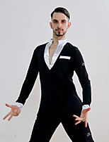 cheap -Latin Dance Tops Men's Performance Crystal Cotton Ruching Long Sleeve Top