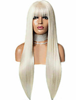 cheap -Synthetic Lace Front Wig Straight With Bangs Lace Front Wig Long Blonde Synthetic Hair 18-26 inch Women's Soft Adjustable Party Blonde