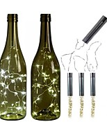 cheap -3pcs AA Battery String Lights Silver LED Wine Bottle Lights Battery Powered Cork Shape Glass Bottle Stopper Lamp Christmas Garlands Decor