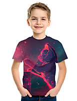 cheap -Kids Boys' Active Street chic 3D Animal Print Short Sleeve Tee Red