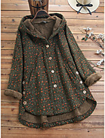 cheap -Women's Daily Winter Long Coat, Geometric Hooded Long Sleeve Cotton Green / Navy Blue
