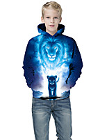 cheap -Kids Boys' Active Punk & Gothic Color Block 3D Animal Long Sleeve Hoodie & Sweatshirt Blue