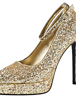 cheap -Women's Wedding Shoes Stiletto Heel Pointed Toe Sequin Synthetics Sweet / British Fall / Spring & Summer Black / Champagne / Gold / Party & Evening