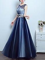 cheap -A-Line Jewel Neck Floor Length Polyester Elegant Engagement / Formal Evening Dress with Beading 2020