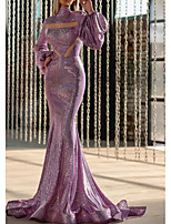 cheap -Mermaid / Trumpet High Neck Sweep / Brush Train Sequined Purple Engagement / Formal Evening Dress 2020 with Sequin