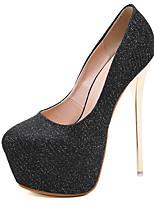 cheap -Women's Heels Stiletto Heel Round Toe Synthetics Sweet / British Fall / Spring & Summer Black / Gray / Party & Evening
