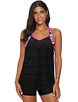 cheap -Women's Plus Size Basic Black Light Blue Purple Tankini Swimwear Swimsuit - Geometric Backless Print S M L Black