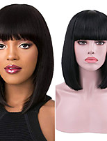 cheap -Synthetic Lace Front Wig Straight With Bangs Lace Front Wig Short Natural Black Synthetic Hair 10-16 inch Women's Soft Adjustable Party Black