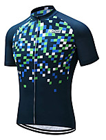 cheap -21Grams Men's Short Sleeve Cycling Jersey 100% Polyester Bule / Black Geometic Bike Jersey Top Mountain Bike MTB Road Bike Cycling UV Resistant Breathable Quick Dry Sports Clothing Apparel / Stretchy
