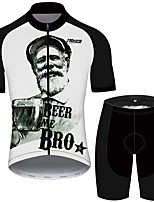 cheap -21Grams Men's Short Sleeve Cycling Jersey with Shorts Black / White Oktoberfest Beer Bike UV Resistant Quick Dry Sports Solid Color Mountain Bike MTB Road Bike Cycling Clothing Apparel / Stretchy