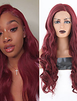 cheap -Synthetic Lace Front Wig Body Wave Middle Part Lace Front Wig Long Dark Red Synthetic Hair 18-26 inch Women's Heat Resistant Synthetic Easy dressing Red / Natural Hairline