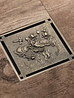 cheap -Antique Brass 10x10cm Bathroom Anti Odor Floor Drain with Pattern