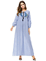 cheap -Adults' Women's Abaya Dress For Party Cotton Striped Embroidered Halloween Carnival Masquerade Dress
