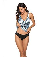 cheap -Women's Sporty Basic White Triangle Cheeky Tankini Swimwear Swimsuit - Floral Color Block Print S M L White