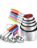 cheap -10Pcs Stainless Steel Measuring Spoons Cups Scoop Food Grade Measuring Spoon Set Silicone Handle Kitchen Measuring Tool