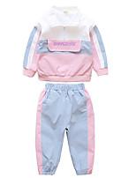 cheap -Kids Girls' Basic Color Block Long Sleeve Clothing Set Blushing Pink