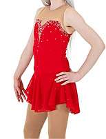 cheap -Figure Skating Dress Women's Girls' Ice Skating Dress Red Patchwork Spandex High Elasticity Training Competition Skating Wear Crystal / Rhinestone Sleeveless Ice Skating Figure Skating