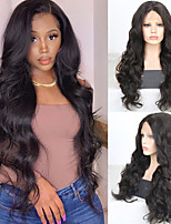 cheap -Synthetic Lace Front Wig Wavy Middle Part Lace Front Wig Long Brown Synthetic Hair 18-26 inch Women's Cosplay Soft Adjustable Brown