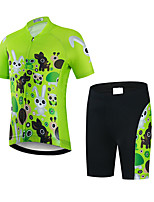 cheap -21Grams Boys' Short Sleeve Cycling Jersey with Shorts - Kid's Black / Green Animal Bike Clothing Suit UV Resistant Breathable Quick Dry Sweat-wicking Sports Animal Mountain Bike MTB Road Bike Cycling