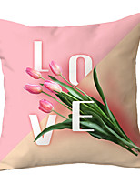 cheap -1 pcs Polyester Pillow Cover Nordic Modern Fashion Pink Flower Simple Cushion Cover Living Room Sofa Cushion Pack Office Backrest Pillow Cover