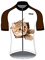 cheap -21Grams Women's Short Sleeve Cycling Jersey 100% Polyester Gray+White Cat Animal Bike Jersey Top Mountain Bike MTB Road Bike Cycling UV Resistant Breathable Quick Dry Sports Clothing Apparel