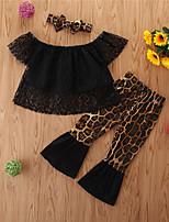 cheap -Toddler Girls' Basic Casual Leopard Short Sleeve Short Short Clothing Set Black
