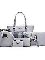 cheap -Women's PU Bag Set Snakeskin 6 Pieces Purse Set Black / Fuchsia / Beige