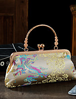 cheap -Women's Pattern / Print Silk / Satin Evening Bag Embroidery Blushing Pink / Light Gold