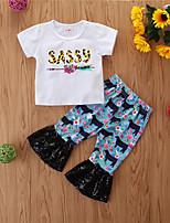 cheap -Baby Girls' Casual Print Short Sleeve Regular Regular Clothing Set White