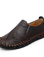 cheap -Men's Moccasin Rubber Spring & Summer Casual / British Loafers & Slip-Ons Walking Shoes Breathable Black / Brown / Burgundy