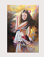 cheap -Abstract Modern Vertical Oil Paintings Girl in The Sunshine Hand Painted Artwork On Canvas with Stretched Frame Ready to Hang for Home Decoration