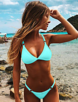 cheap -Women's Basic Black Light Blue White Halter High Waist Tankini Swimwear Swimsuit - Solid Colored S M L Black