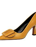 cheap -Women's Heels Chunky Heel Pointed Toe PU Winter Black / Nude / Yellow