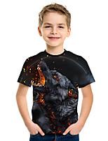 abordables -Enfants Garçon Actif Chic de Rue Loup 3D Imprimé Manches Courtes Tee-shirts Noir