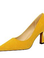 cheap -Women's Heels Cone Heel Pointed Toe Suede Spring &  Fall Black / Yellow / Red