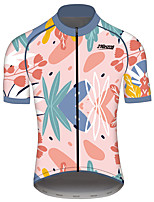 cheap -21Grams Men's Women's Short Sleeve Cycling Jersey 100% Polyester Blue+Pink Floral Botanical Bike Jersey Top Mountain Bike MTB Road Bike Cycling Quick Dry Sports Clothing Apparel / Race Fit