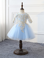 cheap -Cinderella Flower Girl Dress Girls' Movie Cosplay Cosplay Halloween Light Blue Dress Halloween Carnival Masquerade Tulle Polyester