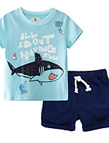 cheap -Kids Boys' Basic Color Block Short Sleeve Clothing Set Silver