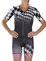 cheap -21Grams Women's Short Sleeve Triathlon Tri Suit Black / White Gradient Bike Clothing Suit UV Resistant Breathable Quick Dry Sweat-wicking Sports Gradient Mountain Bike MTB Road Bike Cycling Clothing
